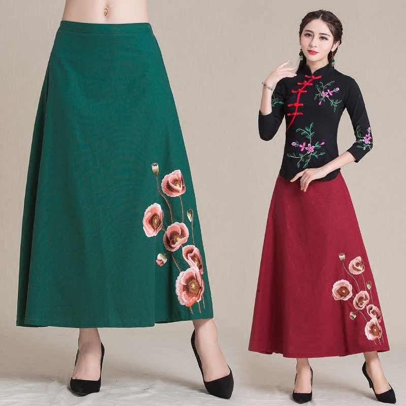 Traditional Chinese clothing 2017 women autumn spring ethnic original long blue green red floral a-line linen skirt longuette