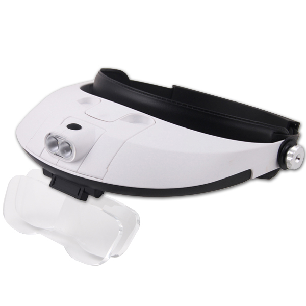 2 LED Headband Glasses Illuminated Magnifier Loupe Single/Bi-plate 11 Magnifications 5 lens(China (Mainland))
