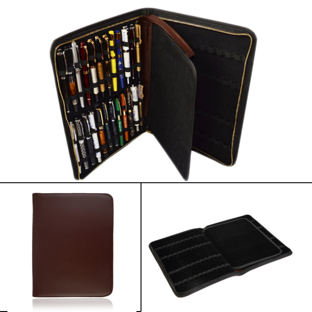 2016 Fountain/Roller Ball Pen Large PU Leather 48 Fountain Pens Pencil Case Storage Holder Zip Bag for 48 Pens(China (Mainland))