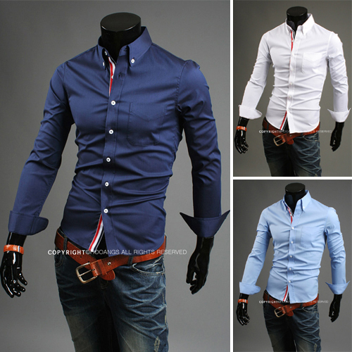 men's cotton casual shirts Slim fit stylish Dress 2015 men dress long Sleeve Shirts size M-XXL - HUHA store