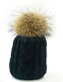 Winter Hat for Women Plus Size Genuine Mink Fur Pompom Hats For Women Winter Cable Knitted