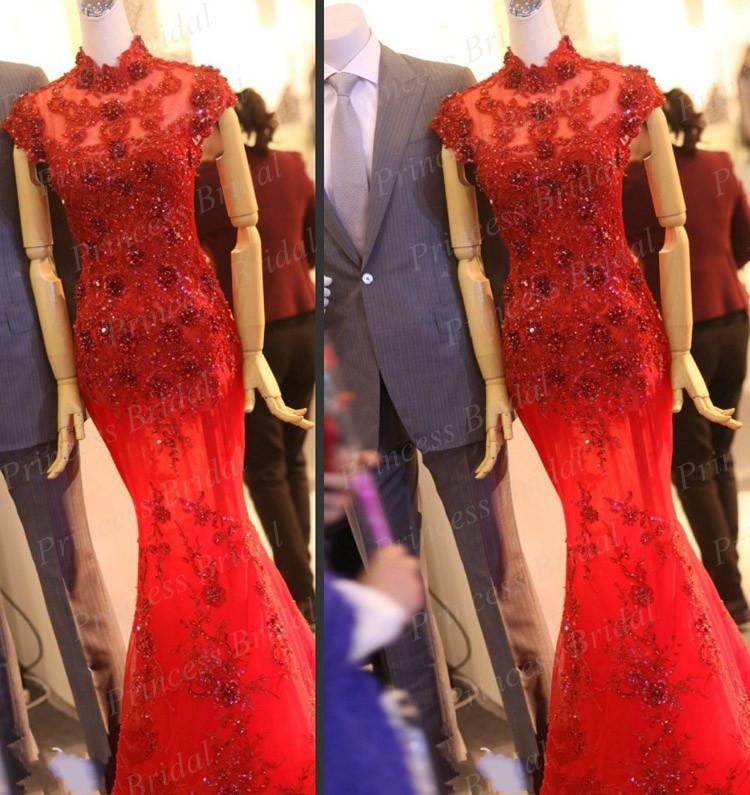 Luxo Real fotos sereia alta Neck manga até o chão de cristal frisada vestidos de baile MF417(China (Mainland))