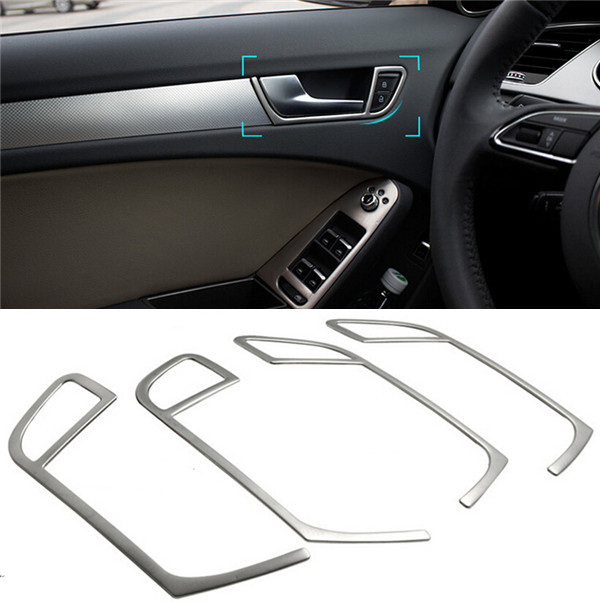 car styling interior door handle frame decorative cover trim doorknob panel stainless steel. Black Bedroom Furniture Sets. Home Design Ideas