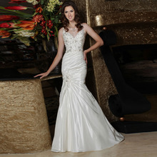 Hot Sale New Discounted Beads Crystals Pleated Satin Wedding Dresses Mermaid Bridal Gown Appliques Upper Part(China (Mainland))