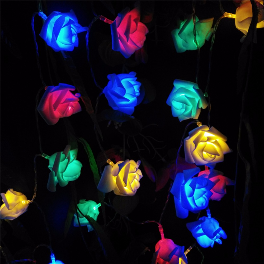 2M Wedding Rose Flower LED Bouquet String Lights Battery Colorful Rosa Christmas Festival Party Garden Bedroom lumiere(China (Mainland))