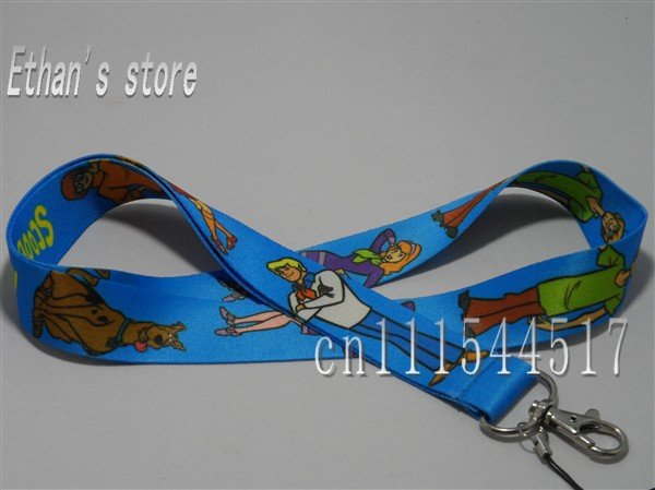 Free Shipping Brand New blue Scooby-Doo keychain lanyard mobile strap ID Badge holders Scooby Doo(China (Mainland))