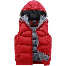 Autumn Winter New Fashion Hood Vest Men Solid Casual Slim Mens Vest Warm Lovers Waistcoat(China (Mainland))