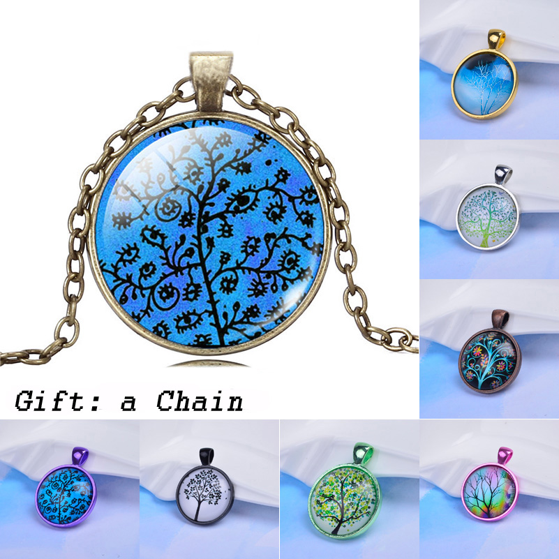 25 Different Style Glass Cabochon Colorful Pendant Life Art Tree Necklace Pendant Chain Necklace Fashion For Women Men Gift(China (Mainland))