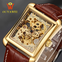 OUYAWEI Brnd Mechanical Watch 2016 OUYAWEI brand WristWatches Leather Strap Men Watch Self Wind Skeleton Watch For Men(China (Mainland))
