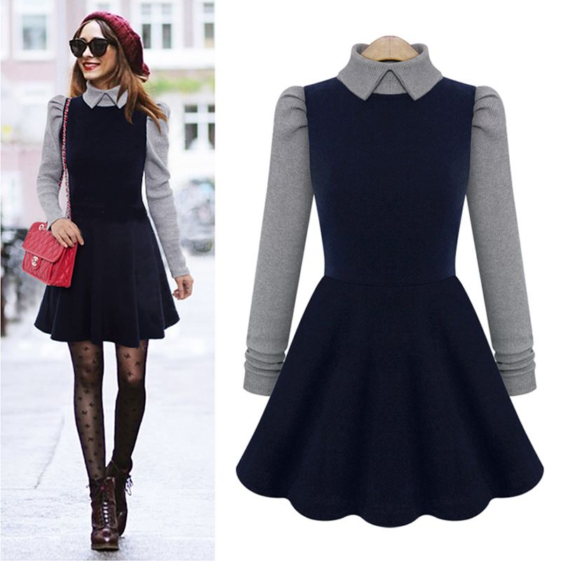 tweed dress Autumn and winter wool and Knitted dress women elegant peter pan collar long sleeve cute dress(China (Mainland))