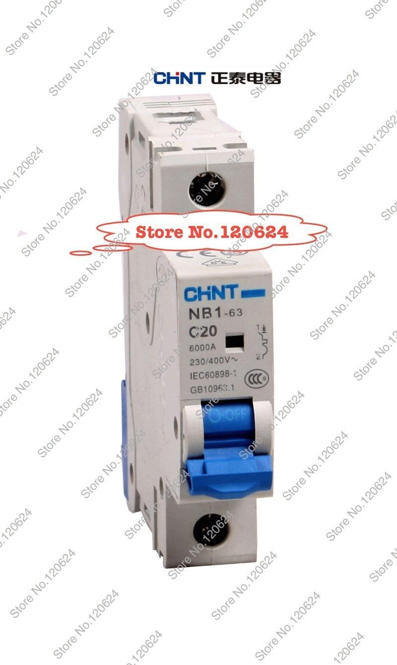 CHINT MCB NB1-63 C20A 1P low voltage mini miniature circuit breaker Modular DIN Rail motor protection CE(China (Mainland))