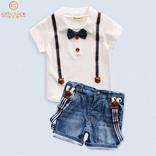2016 Summer Boys Clothing Set T Shirt + Denim Shorts Trench Brand Kid Twinsets Children Clothing Suits 2-8T Baby Clothes, HC474(China (Mainland))