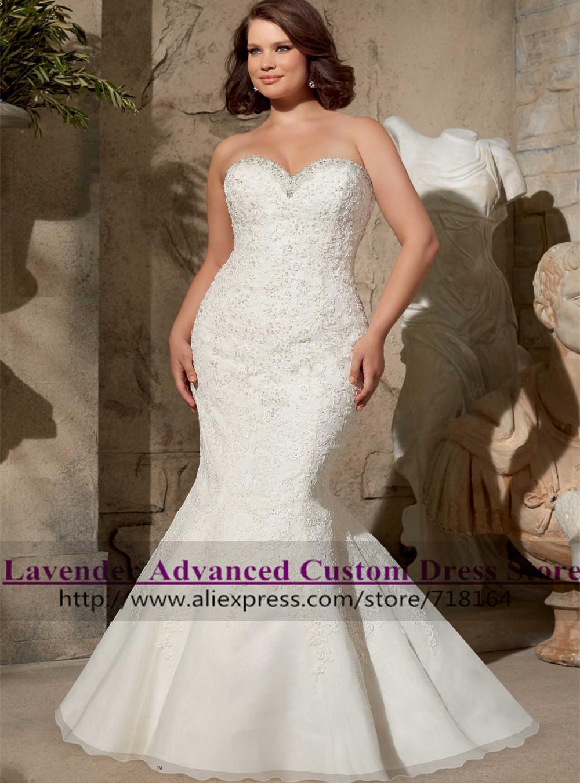Buy romantic sexy mermaid lace plus size for Vintage wedding dresses plus size