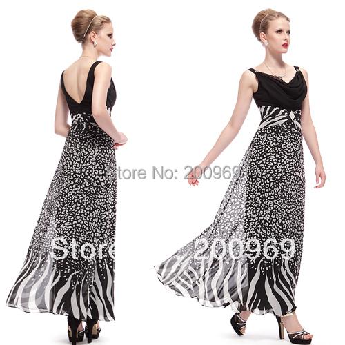 Evening Dresses Ever Pretty HE08011 Animal Printed Women V-neck Long Elegant Evening Party Dress 2016(China (Mainland))