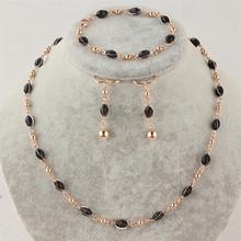 YMENGZ New Women/Girls' Delightful Jewelry Gift 14k Gold Filled Black Bead Necklace Bracelet Earrings Jewelry Set For Women(China (Mainland))