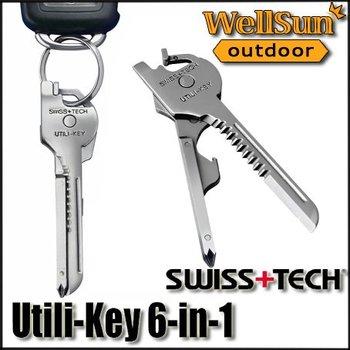 MOQ:1pc 100% OEM SWISS + TECH  Utili-Key 6 In 1 Mini Multitool Keyring Pocket Knife Folding Knife Survival Knife Free Ship #ST01