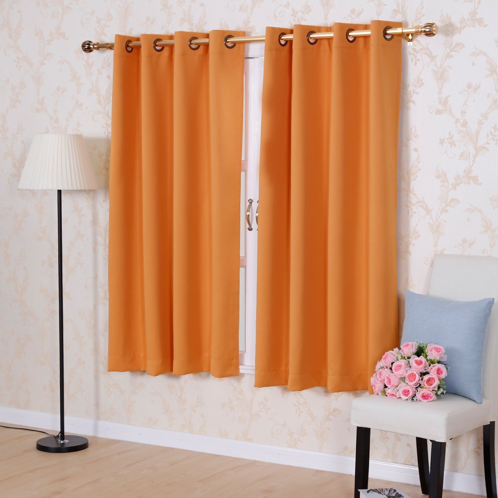 Solid Color Thermal Insulated Blackout Curtains 8 Grommets