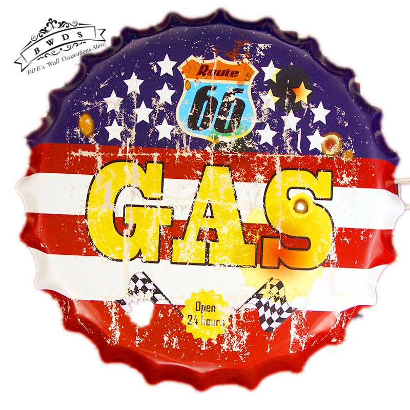 """GAS"" Vintage Metal signs Round Beer Cap Hanging Wallpaper Decor Iron oil Garage Poster Craft Wall Decor <40cm,RD-66>(China (Mainland))"