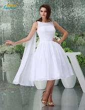 Buy Boho Short Wedding Dress 2016 Sexy sheer Scoop Neck Cap Sleeve Vestido De Noiva beach chiffon wedding gown Bridal Dresses cheap for $97.50 in AliExpress store