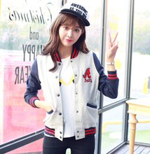 Baseball Uniform coat Letters A Loose Hoodies Mixed colors Stitching Stand-Up Collar Striped Long Sleeve Sweatshirt Jacket(China (Mainland))