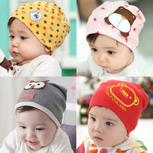 Retail 1-3 years old boys and girls summer spring baby hats,21 colors cotton animal printed infant caps kids knitted cap(China (Mainland))