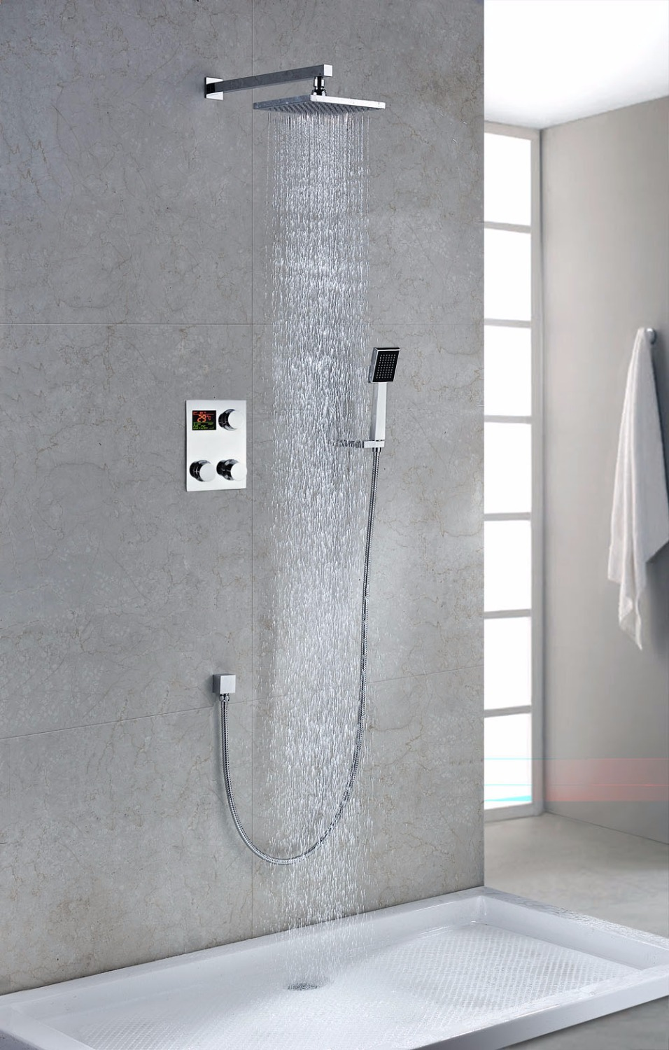 Luxury digital thermostatic in wall shower set faucet mixer tap torneira banheira esmalte kpah with 5 years guarantee(China (Mainland))