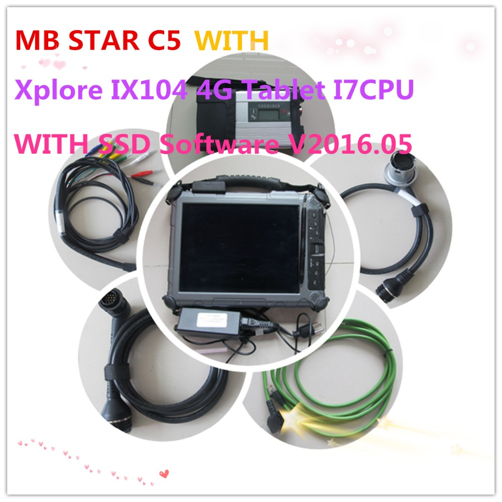 TOP-Rated MB Star C5 SD Connect C5 for mb cars&trucks wireless with 250GB SSD Software V2016.05 with Xplore IX104 Tablet I7CPU(China (Mainland))