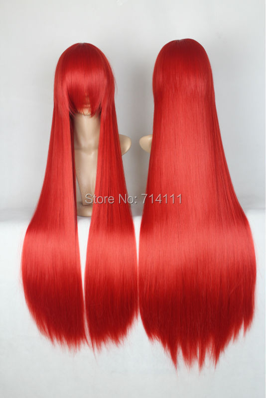 Only 18.8$ including shipping big discount off only one day 100cm red long straight full bang cosplay costume wig.(China (Mainland))