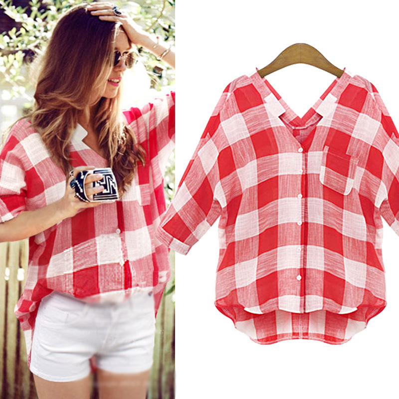 2016 new arrival spring women shirts white and red plaid Womens red tartan plaid shirt