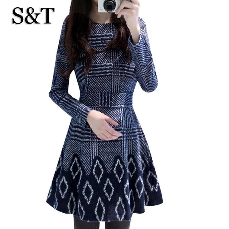 New Korean Style 2015 Women Winter Dress Blue Black Print Long Sleeve Bottoming Clothing Plus