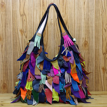 Fashion bag genuine leather patchwork bag unique casual cowhide broken skin shoulder bag cross-body women's handbag