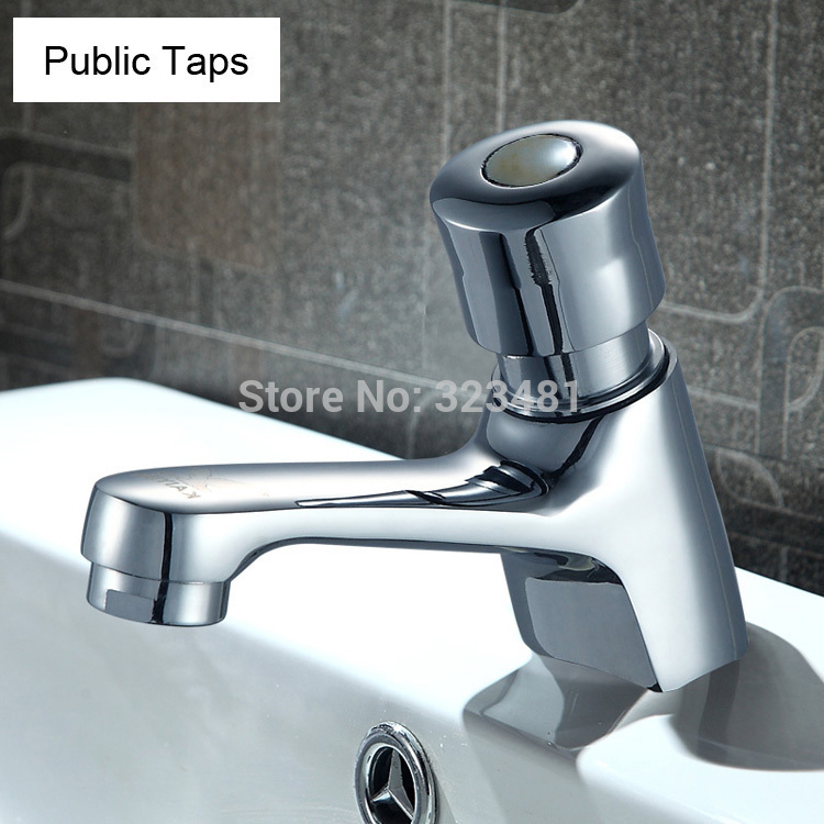 Free Shipping Brass Time Delay Faucet Touch Press Auto Self Closing cold Water Saving Tap for Public Toilet Metered Faucet(China (Mainland))