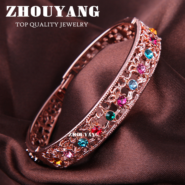 ZHOUYANG ZYB030 Multicolour Crystal  Rose Gold Plated Bangle Jewelry Made with Genuine  Austrian Crystals Wholesale
