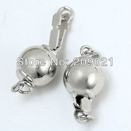 100PCS Silver Tone pearl ball clasp fit necklace Jewelry Finding 8mm(China (Mainland))