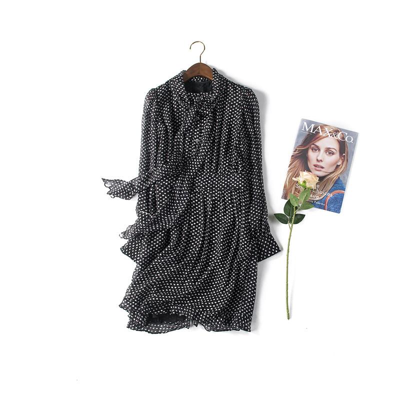 Bow Tie Collar Polka Dot Dress 100% Silk Spring Dress 2016 New Arrival Vintage Shirt Dress Tunique Femme 2016 Spring SummerОдежда и ак�е��уары<br><br><br>Aliexpress