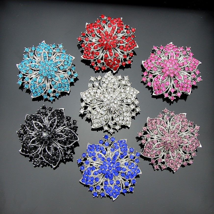 7 colors'  Vintage Style Black Rhinestone Crystal Diamante Party Brooch pins for women  Ac036