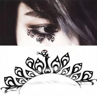 1 pair/pack Elegant open work black peacock lace face artificial false lower lashes.18.17853.Free shipping(China (Mainland))