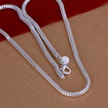 Бесплатная доставка, оптовые ювелирные изделия стерлингового серебра 925 ожерелье 4 мм змея цепи длина N284(China (Mainland))