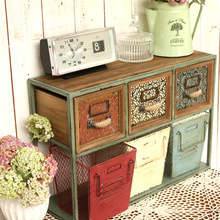 American vintage rustic iron frame wooden drawers wire baskets wall decoration cabinet(China (Mainland))