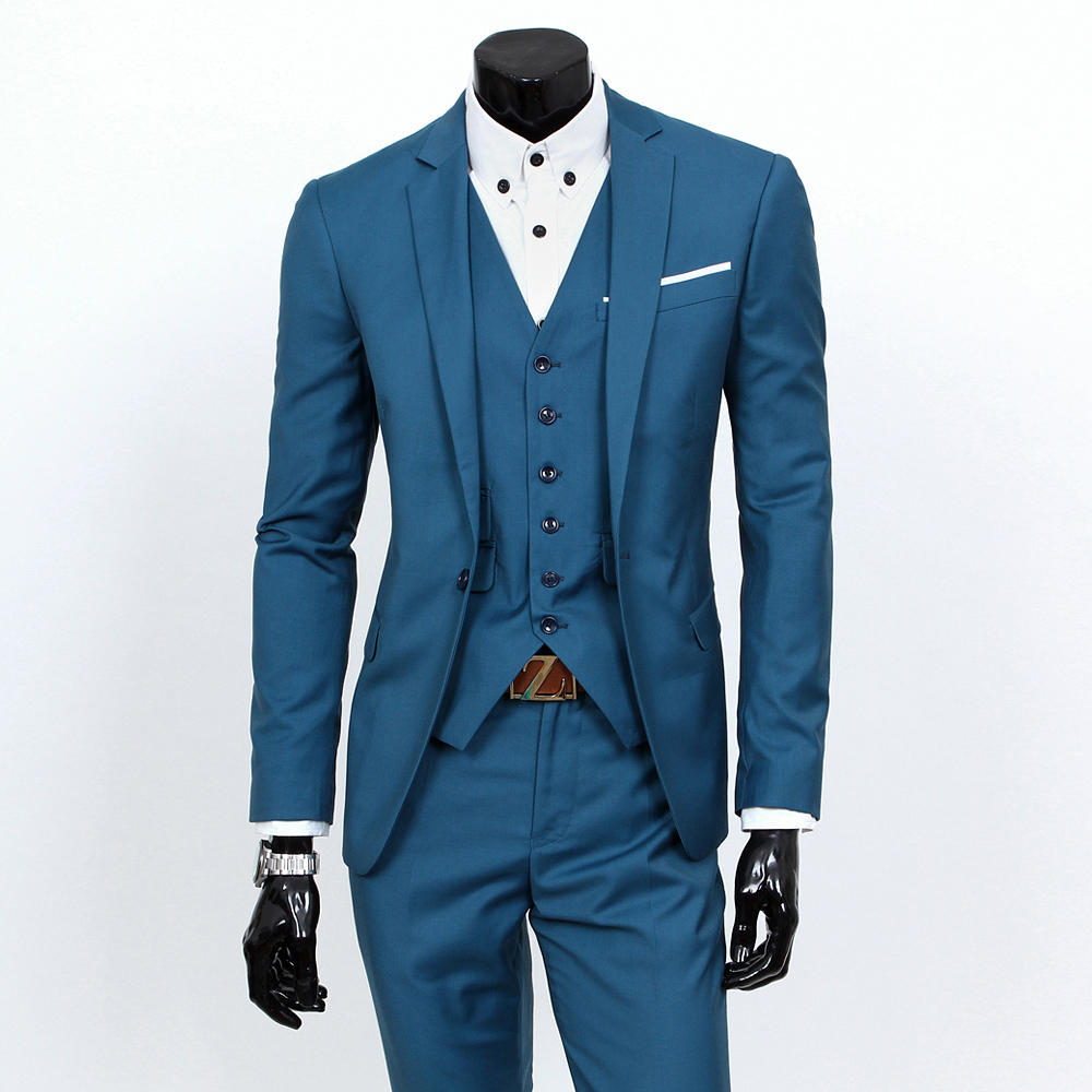 2016 fashion new men leisure business suits / Man's pure color suit jacket blazer coat + suit trousers pants + vest(China (Mainland))