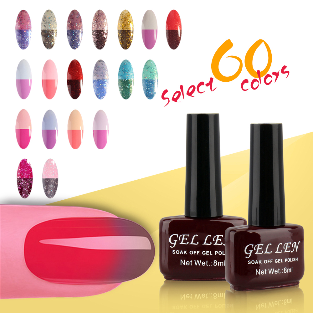Gel Len Tempreature color changing gel nail polish 60 Colors Soak off LED UV Chameleon Gel