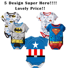 2015 Spring Summer 100% Cotton Short Sleeve Superman Baby Rompers Newborn Infant Clothing Toddler Boy Jumpsuits Bebe Roupas