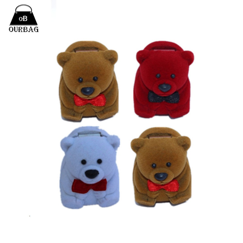 Lady Lovely Cute Bear Shape Flocking Girl Favor Ring Box Women Earring Jewelry Box Multi Colors Valentines Gifts Free Shipping(China (Mainland))