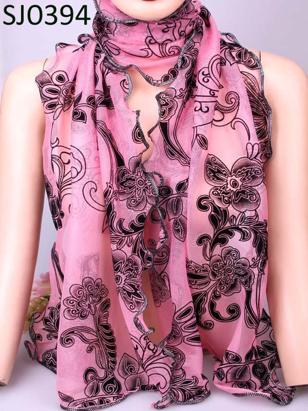 Vintage Warm More Colorful Flower Bohemian Shape Chiffon Silk Rayon Microfiber Scarves Wraps Shawl For Women