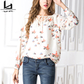 Chiffon Bird Print Long Sleeves Autumn Women Shirt V Neck Plus Size Casual New Fashion High