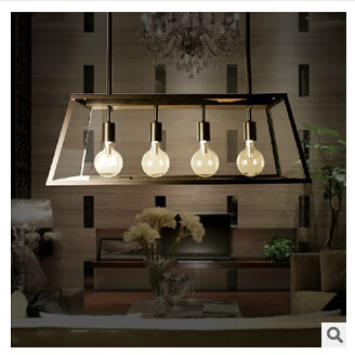 American Village pendant lights Cafe Restaurant dining table iron rectangular glass box four led lamp pendant for study room bar(China (Mainland))