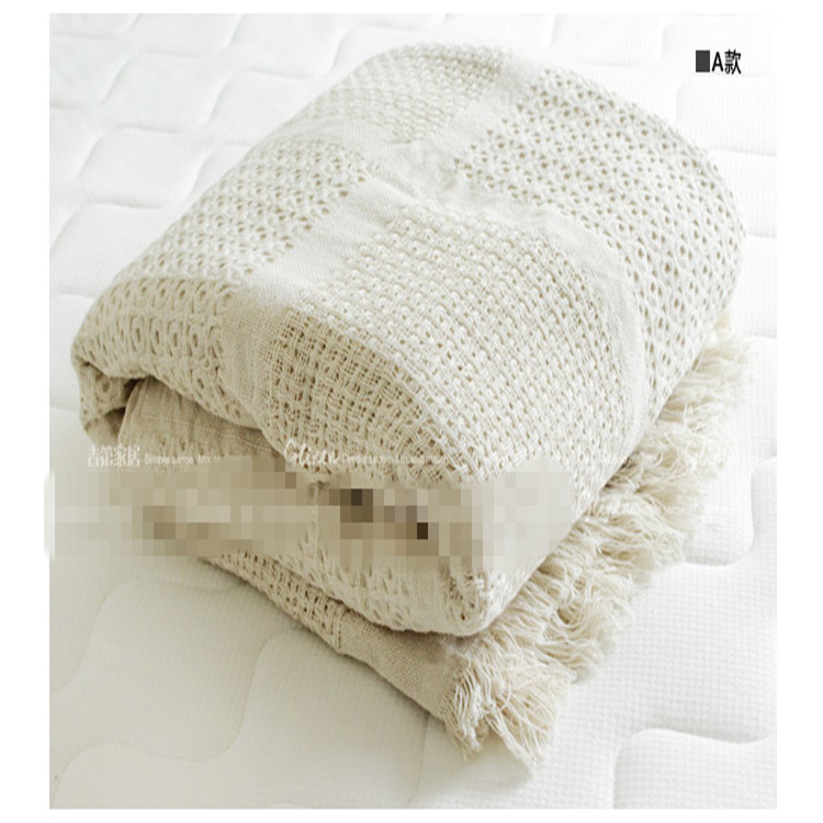 Nordic style cotton thread blanket white thicken crocheted bed spread throw sofa cover blanket free shipping(China (Mainland))