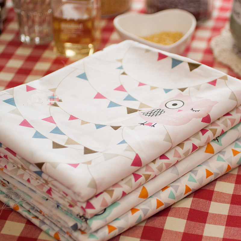 150cm*100cm Cotton twill fabric baby bedding cartoon handmade diy 100% cotton owl Night Elf soft cloth high quality fabric(China (Mainland))
