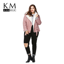 Kissmilk Plus Size Fashion Women Clothing Basic Warm Streetwear Outwear Long Sleeve Thicken Big Size Moto Jacket 3XL 4XL 5XL 6XL(China (Mainland))