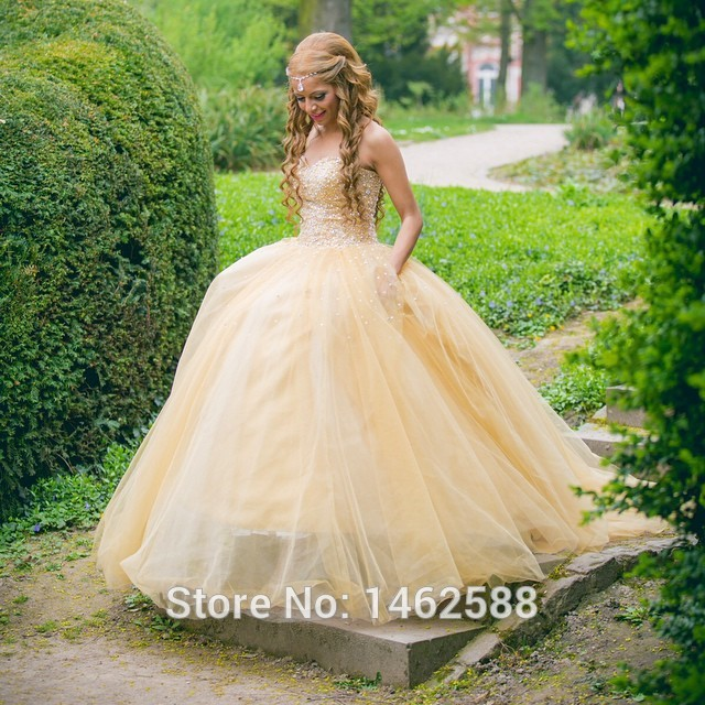 Stunning Pearl Beaded Sweetheart Bodice Corset Yellow Organza And Tulle Wedding Dresses Ball Gowns 2015 Cinderella Bridal Gown(China (Mainland))